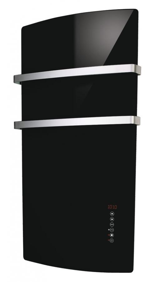 Radialight Deva Μαύρη - Πετσετοκρεμάστρα με Γυάλινη Πρόσοψη